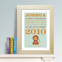 Personalised New Baby Print - Lion